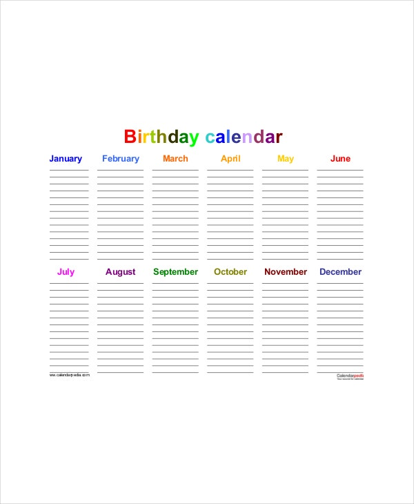 Office Birthday Calendar Template
