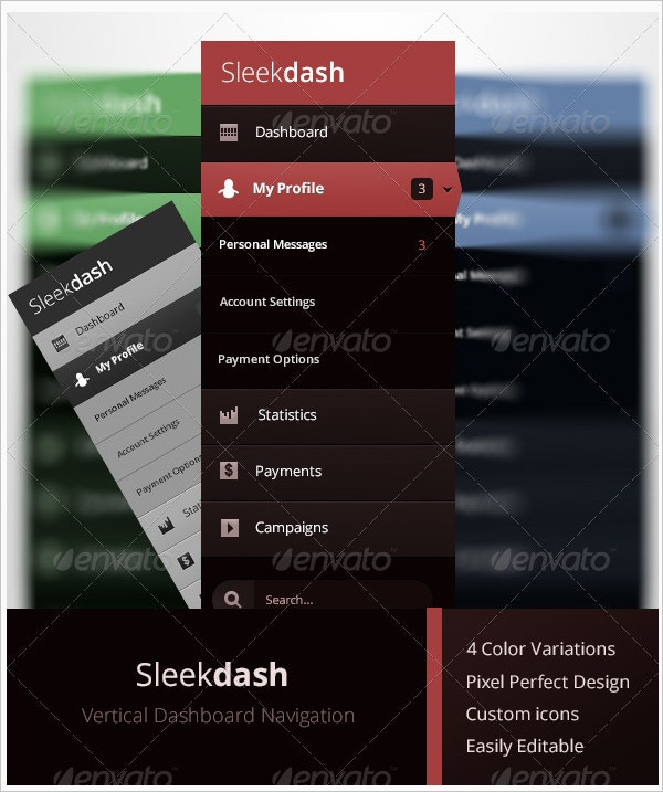 vertical dashboard navigation