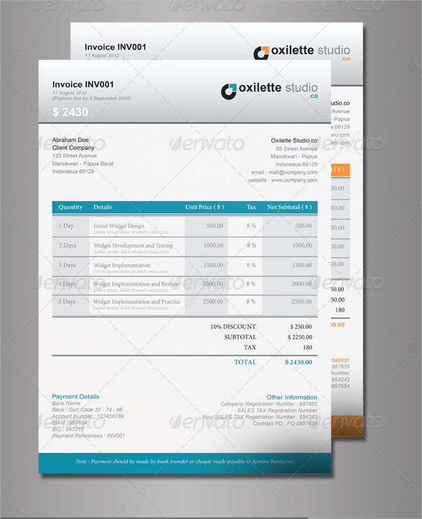 Indesign Company Invoice Template