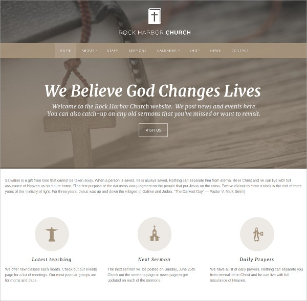 Pastor Church WordPress Theme $59