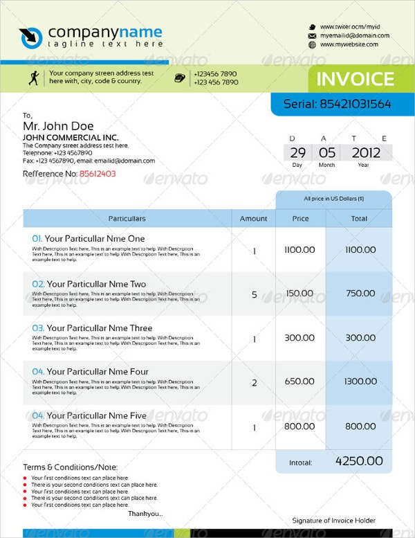 Professional InDesign Invoice Template