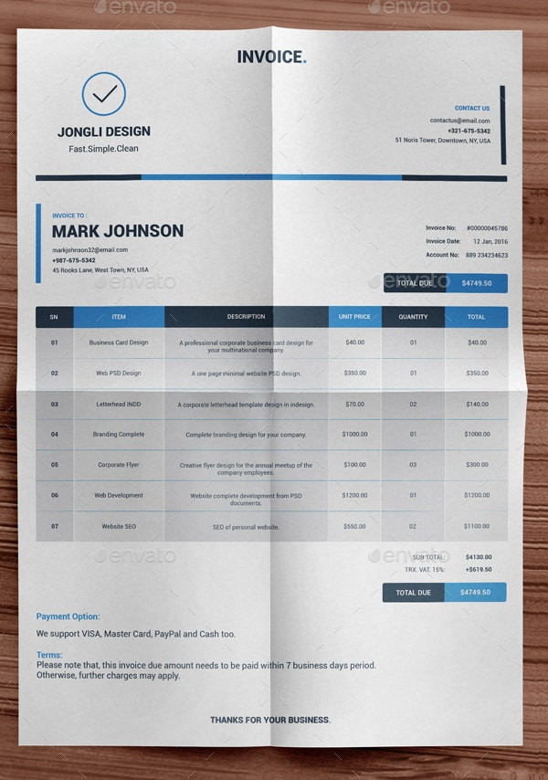 Indesign Invoice Template 7 Free Indesign Format Download Free