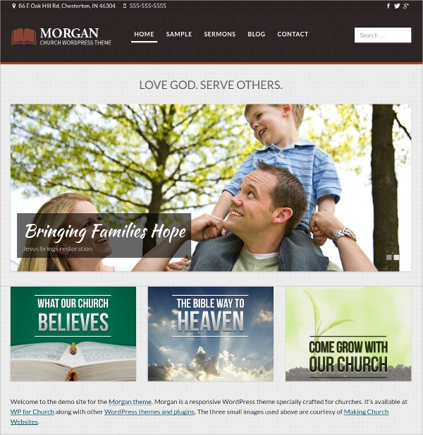 Fully Responsive Church WordPress Website Theme $29
