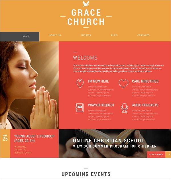 Religious Grace Church Organization WordPress Theme $75