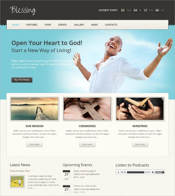Church Prayer WordPress Theme $59
