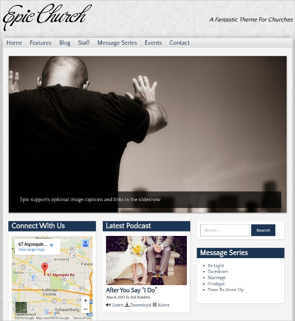 Podcast Church WordPress Theme $59