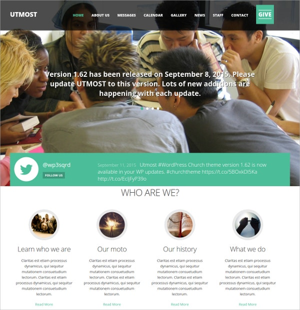 Multimedia Church Non Profit Charity WordPress Theme $49