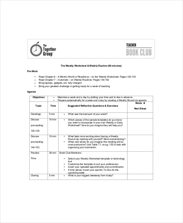 Book Club Agenda Template  Cool Agenda Templates
