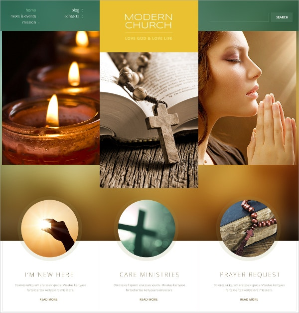 Modern Church WordPress Theme $75