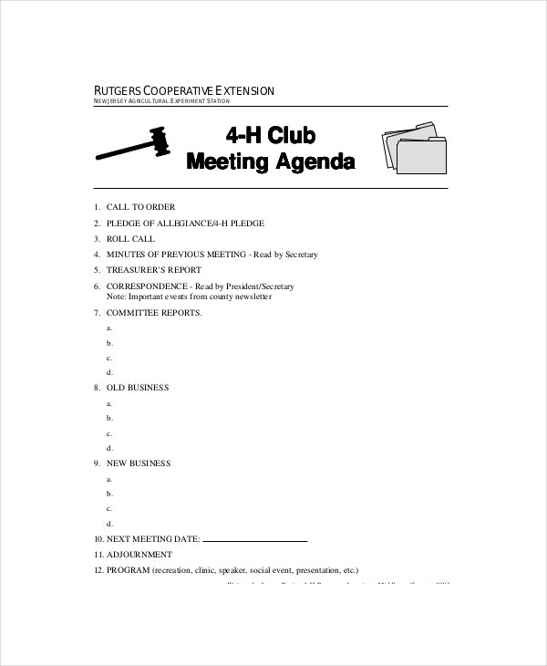 Club Meeting Agenda Template 7 Free Word PDF Documents – Agenda for a Meeting Template