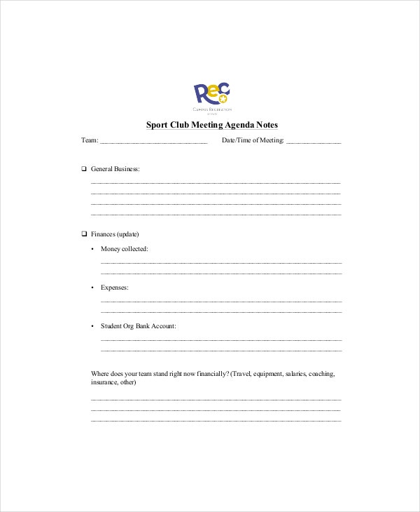 club meeting agenda template