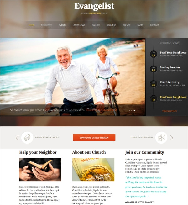 Bible Church WordPress Theme $59