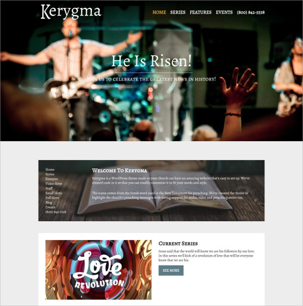 Powerful Church WordPress Theme $59