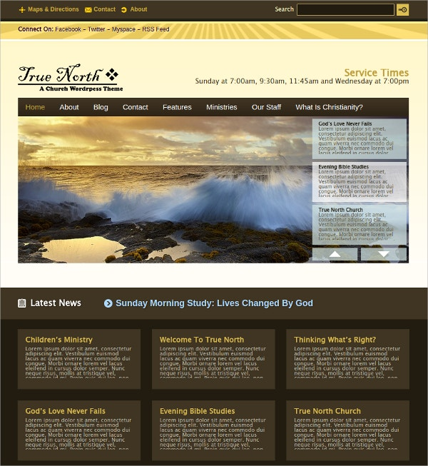 Elegant Church WordPress Theme $35