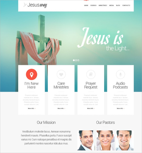 Christian Church Responsive WordPress Website Theme $75