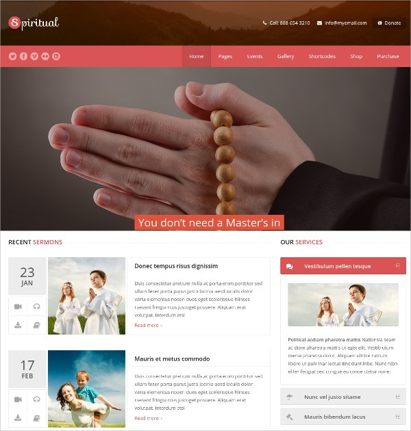 Church, Organization WordPress Theme $59