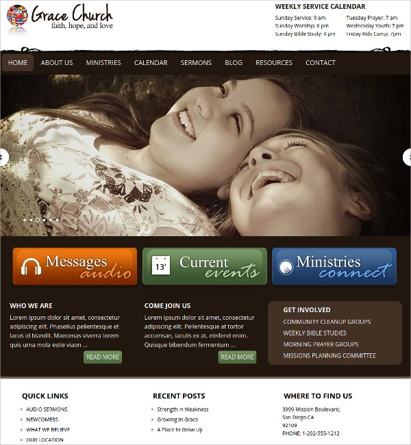 Responsive WordPress Church Theme $65