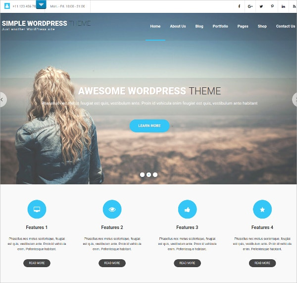 Simple Church WordPress Theme $39