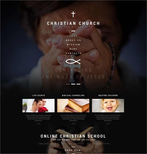 Christian Church WordPress Theme $75
