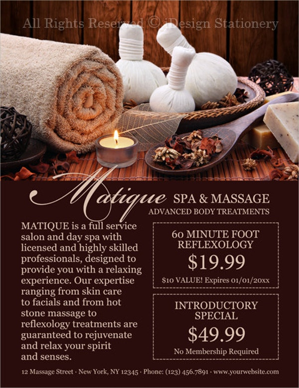 Printable Spa Flyer with Menu