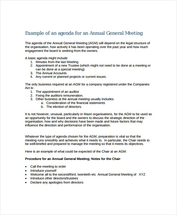Annual Meeting Agenda Template 8 Free Word PDF Documents – Basic Meeting Agenda Template