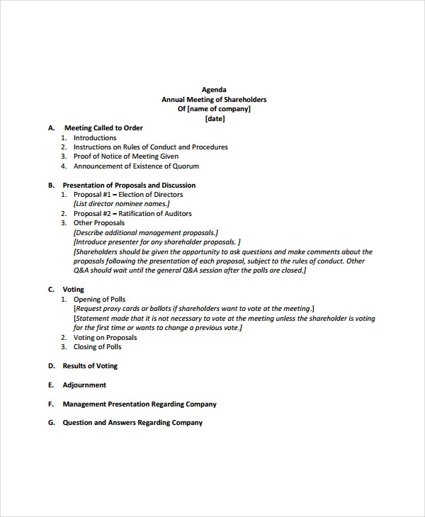 Annual meeting agenda template 8 free word pdf for Minutes of shareholders meeting template