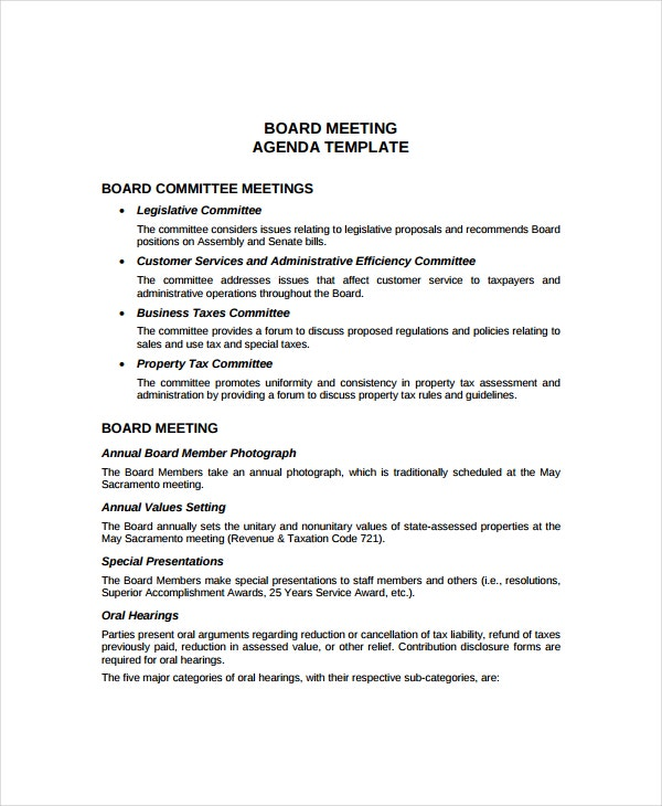 annual board meeting agenda template