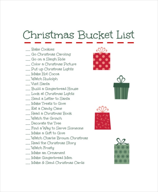 christmas bucket list template