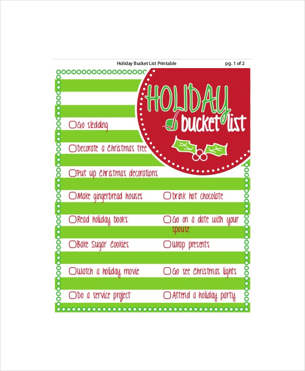 holiday bucket list template
