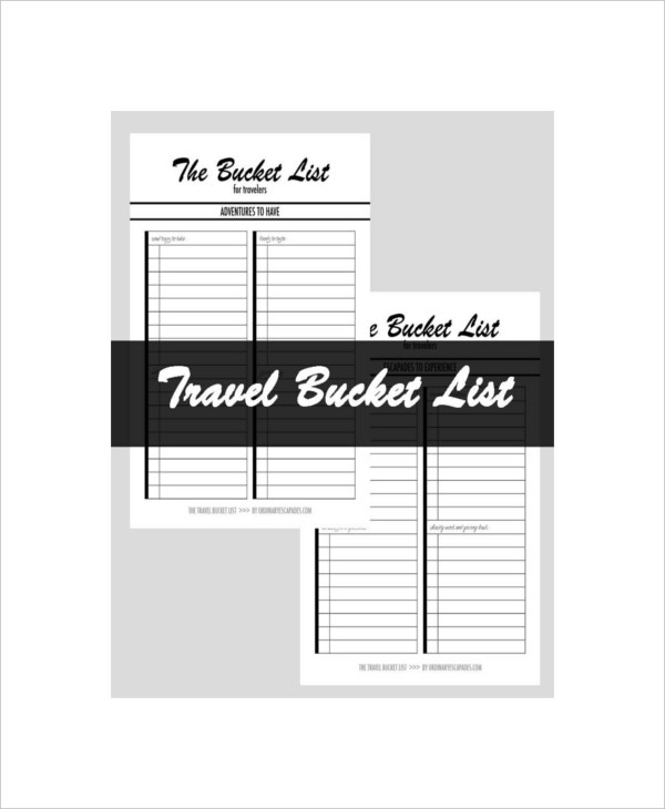 travel bucket list template