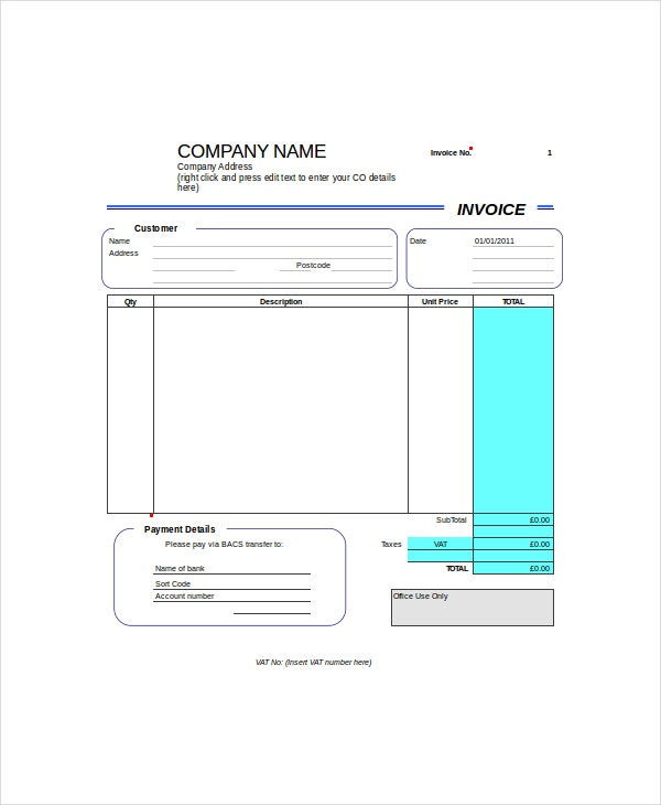 Self Employed Invoice Template   Free Word Excel Pdf