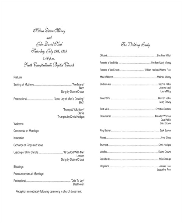 Wedding Program Templates  Free Sample Example Format  Free