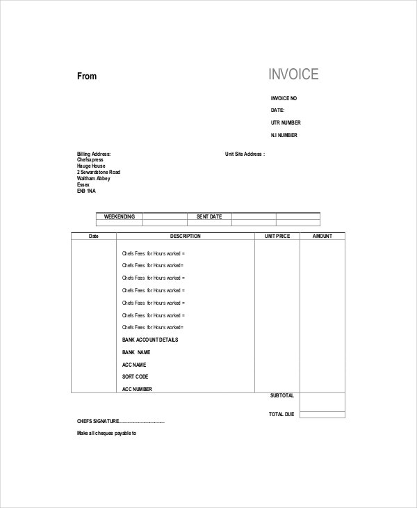 Self Employed Chef Invoice Template