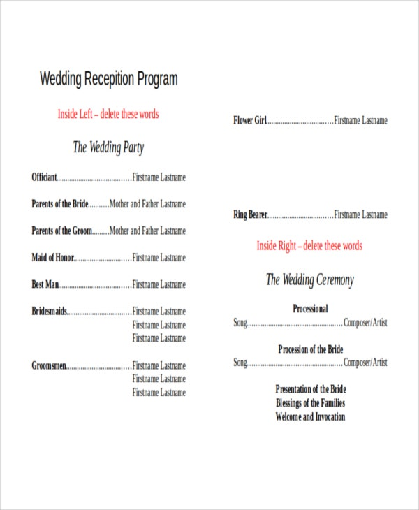 10 Wedding Program Templates Free Sample Example Format Free