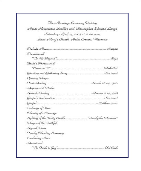 10+ Wedding Program Templates - Free Sample, Example, Format | Free ...