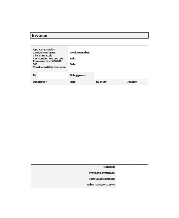 self employment invoice template  Self Employed Invoice Template - 11  Free Word, Excel, PDF Documents ...