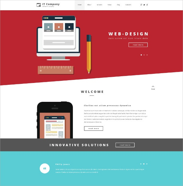 IT Company Business WordPress Theme $75