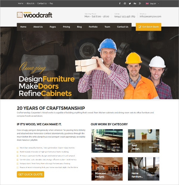 Construction Business WordPress Theme $49
