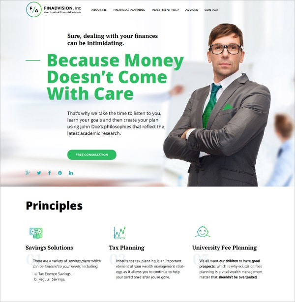 Responsive Financial Advisor Business WordPress Theme $75
