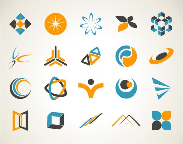 orange-and-blue-logos-set