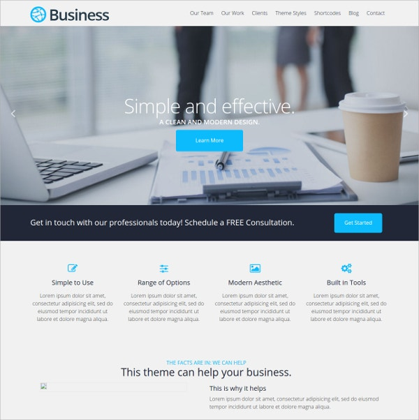 Free Modern Business Website Theme