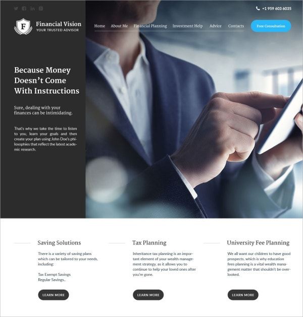 Financial Vision Business WordPress Theme $75
