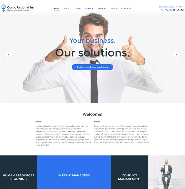Corporational Business WordPress Theme $75