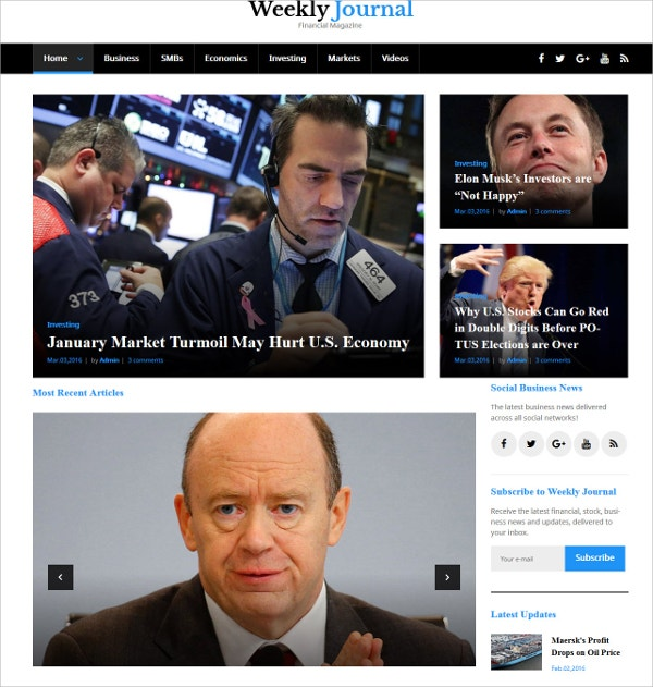 Financial Magazine Business WordPress Theme $55