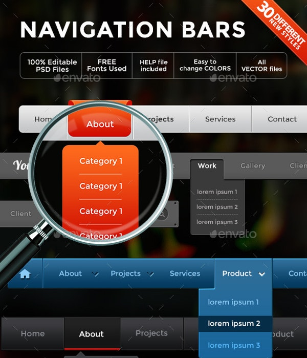 navigation with dropdown menus 30 different styles