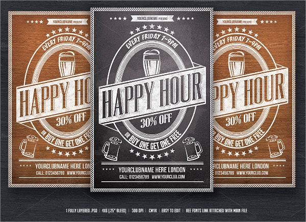 happy hour chalkboard flyer