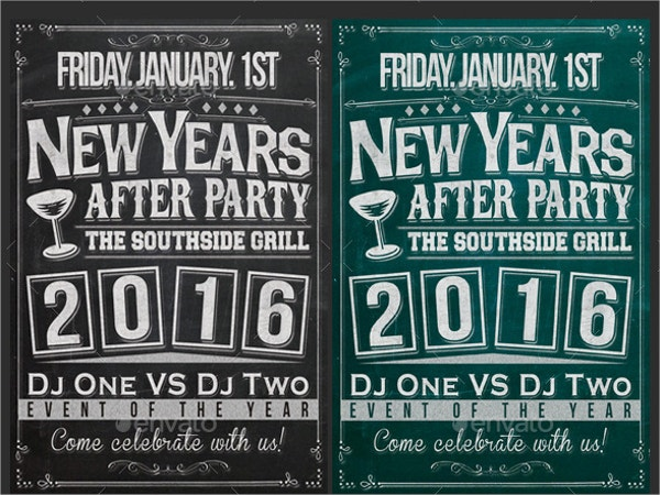 new year chalkboard flyer template