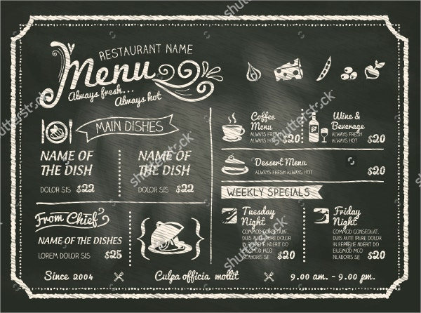 chalkboard menu flyer