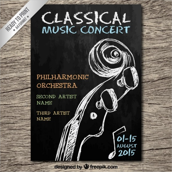 Classical Music Concert Chalkboard Flyer Template