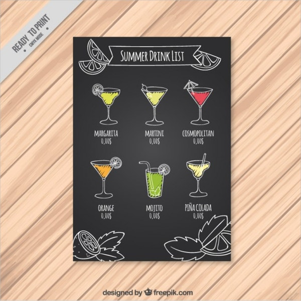 Summer Drink list on a Chalkboard Flyer